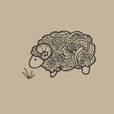 Sheep doodle pattern cartoon Royalty Free Stock Image