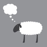 Sheep with dream bubble. Cute sheep with dark grey head, ear, eye, legs and white body with space for your text and dream bubble over it isolated on grey Royalty Free Illustration