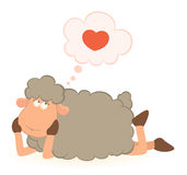 Sheep dreams about love Stock Photo