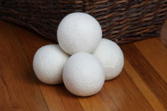 Sheep dryer ball. On wooden floor Stock Photo
