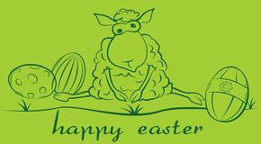 Sheep and easter eggs Royalty Free Stock Image