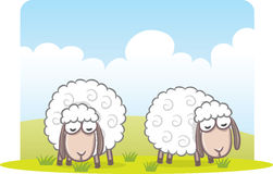 Sheep eating grass stock illustration