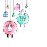 Sheep for Eid-Al-Adha Celebration. Creative illustration of Sheep, Gifts and Stars hanging on white background, Vector greeting card for Muslim Community Royalty Free Stock Photo
