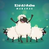 Sheep for Eid-Al-Adha Mubarak. Muslim Community, Festival of Sacrifice, Eid-Al-Adha Mubarak with illustration of Sheep on shiny background, Vector greeting card Royalty Free Stock Photo