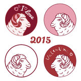 Sheep emblem, sticker or icon set in marsala color. Vector illustration. Royalty Free Stock Images