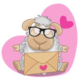 Sheep with envelope. Cute Sheep in with envelope on a heart background stock illustration