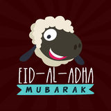 Sheep face for Eid-Al-Adha Mubarak. Muslim Community, Festival of Sacrifice, Eid-Al-Adha Celebration with illustration of a Sheep Face on abstract rays Royalty Free Stock Images