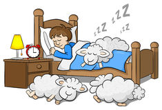 Sheep fall asleep on the bed of a sleeping man Royalty Free Stock Image