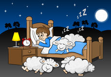Sheep fall asleep on the bed of a sleepless man Stock Image