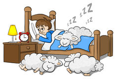 Sheep fall asleep on the bed of a sleepless man Royalty Free Stock Photography