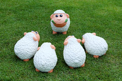 Sheep family on the meadow. Sheep family talking on the meadow royalty free stock photography