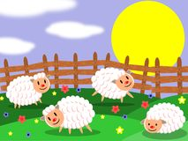 Sheep farm. This image represents an happy sheep farm in a sunny day Royalty Free Stock Images