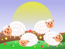 cute Sheeps in a meadow in a sunny day Royalty Free Stock Photo