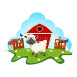 Sheep on farm cartoon for your design Stock Image