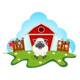 Sheep on farm cartoon for your design Stock Photo