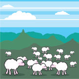 Sheep In the Field Vector Royalty Free Stock Images