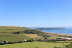 SHEEP FIELDS ABOVE WOOLACOMBE BEACH IN DEVON Royalty Free Stock Photo