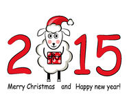 2015 and Sheep. 2015 figures and sheep in Santa hats on a white background Royalty Free Stock Images