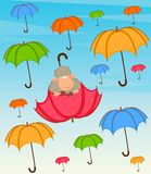 Sheep flies on a red umbrella Stock Image
