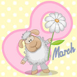 Sheep with flower Royalty Free Stock Images