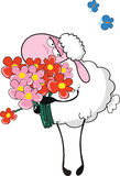 Sheep with flowers Stock Photos
