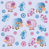 Sheep, flowers and butterflies. Stock Photo