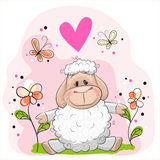 Sheep with flowers. And butterflies on a meadow vector illustration