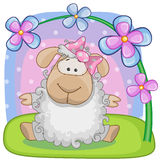 Sheep with flowers vector illustration