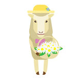 Sheep with flowers Stock Photo