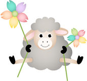 Sheep with Flowers Royalty Free Stock Photography