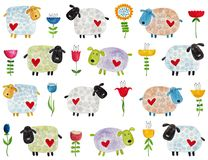 Sheep and flowers. Pattern Royalty Free Stock Photos