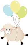 Sheep flying with balloons Royalty Free Stock Photography