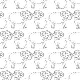 Sheep flying in the sky with clouds. Cute Wallpaper for kids. Vector illustration. Seamless pattern background royalty free illustration