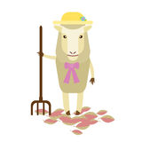 Sheep with fork Stock Image