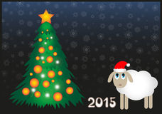 Sheep 2015. Funny white sheep with the new year tree royalty free illustration