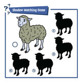 Sheep game. Vector illustration of educational shadow matching game with cartoon sheep for children Royalty Free Stock Photos