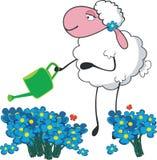 Sheep in a garden. Vector illustration of sheep in a garden Stock Image
