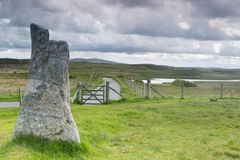 Sheep gate and standing stone Stock Photos