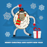 Sheep with gift box on Christmas Eve. Royalty Free Stock Photos