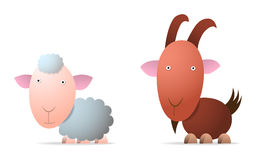Sheep and goat. Cartoon illustration Royalty Free Stock Photos