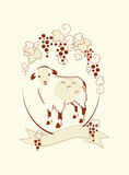 Sheep and Grape. Illustration in outline style – small sheep under branch of grape and banner for you text Stock Photo