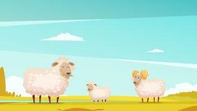 Sheep Grazing On Farmland Cartoon Poster Royalty Free Stock Photography
