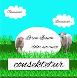 Sheep grazing in a meadow. Vector illustration Royalty Free Stock Image