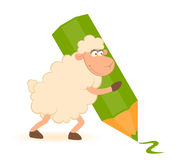 Sheep with green pencil Royalty Free Stock Images