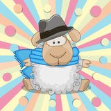 Sheep with hat. Cute Sheep wearing a scarf and hat on a colored background Stock Photography