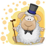 Sheep in a hat. Greeting card Sheep in a hat Stock Photos
