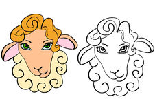 Sheep head - contour stock images