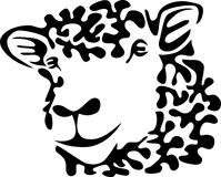 Sheep. Head - stylized black and white illustration Royalty Free Stock Image