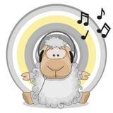 Sheep with headphones Stock Photo