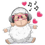 Sheep with headphones. Cute cartoon Sheep with headphones on a white background Stock Image